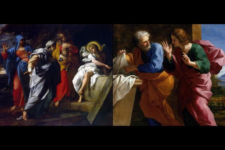 "LEFT: Annibale Carracci, ""The Women at Christ's Tomb,"" 1590s. RIGHT: Giovanni Francesco Romanelli, ""St. John and St. Peter at Christ's Tomb,"" ca. 1640."