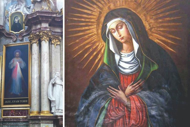 A depiction of Mary based on this painting of the Mother of Mercy is in the Chapel of the Gates of Dawn in Vilnius, Lithuania. The Divine Mercy image is found in Holy Trinity Church in Vilnius.