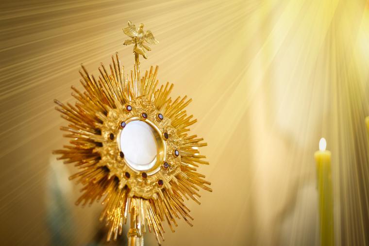 Blessed Sacrament inside a monstrance.