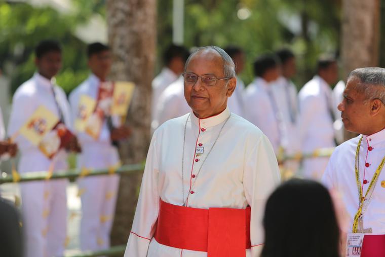 Cardinal Malcolm Ranjith outside his residence in Colombo, Sri Lanka on Jan. 13, 2015, arrives to greet Vatican Secretary of State Cardinal Pietro Parolin.