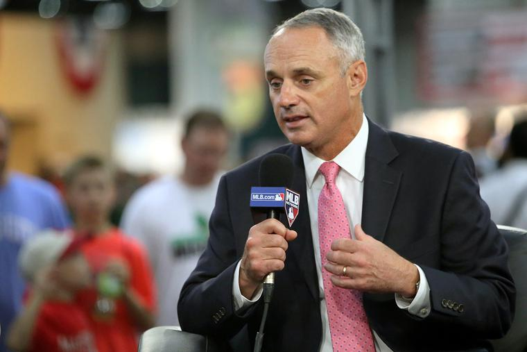 MLB Commissioner Rob Manfred speaks at a #FanFest event on July 13, 2015.