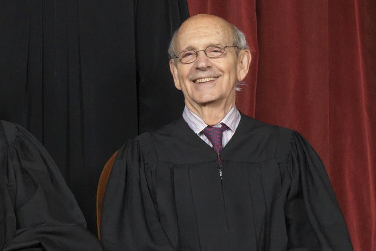 Justice Stephen Breyer poses for an official Supreme Court portrait on June 1, 2017