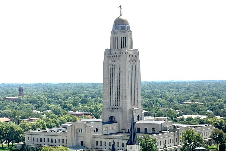 Aerial view of Nebraska State Capitol, taken from Nebraska Club, 20th floor of U.S. Bank building.
