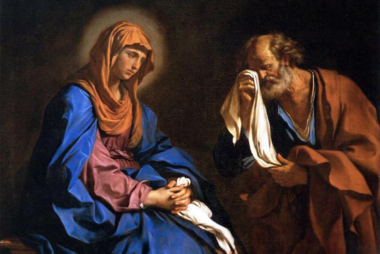 """Guercino, """"St. Peter Weeping Before the Virgin,"""" 1647"""