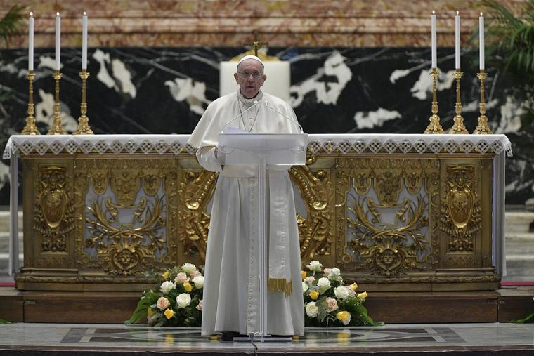 Pope Francis gives the Urbi et Orbi blessing on Easter Sunday in St. Peter's Basilica on April 4th, 2021.