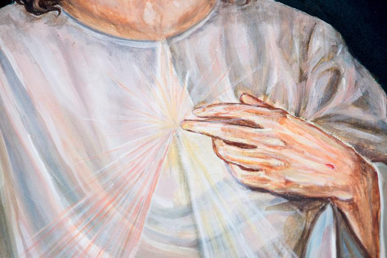 A detail of a Divine Mercy image is displayed in St. Peter's Square on April 8, 2018.