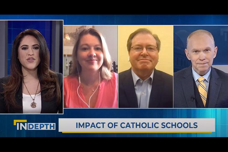 Panelists discuss Catholic schools on EWTN News In Depth, April 9, 2021. From left to right: Montse Alvarado, Ashley McGuire, Thomas Carroll and Matthew Bunson