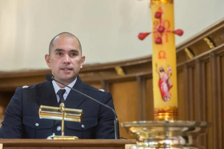 Detective Superintendent Andy Wadey of the Metropolitan Police addresses parishioners at Christ the King parish, in Balham, south London, April 11.