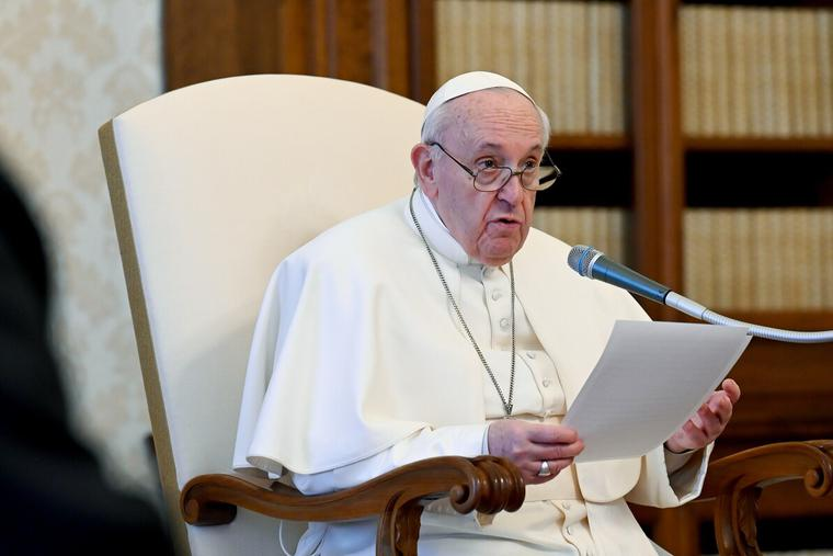 Pope Francis gives a general audience address in the library of the Apostolic Palace Feb. 3, 2021.