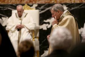 Cardinal George Pell attends the Easter Vigil Mass at St. Peter's Basilica presided by Pope Francis on April 03, 2021 in Vatican City.