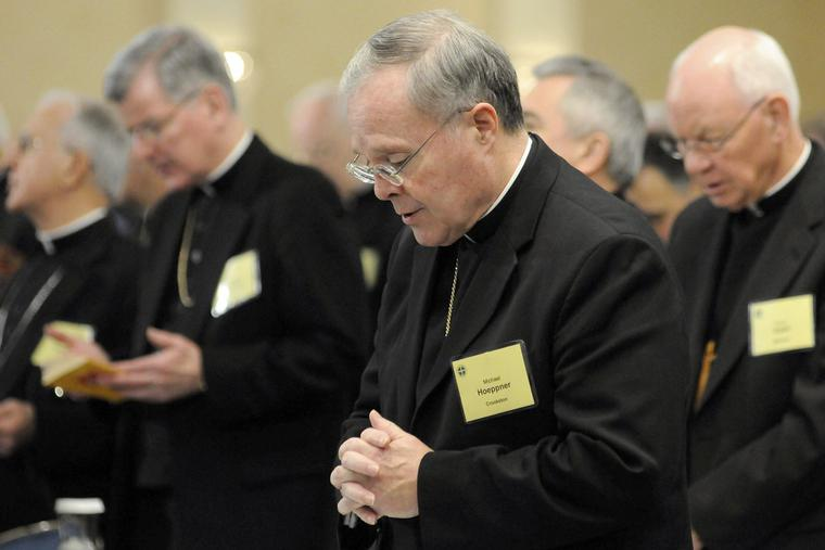 Bishop Michael J. Hoeppner of Crookston, Minn. prays during a semi-annual meeting of the United States Conference of Catholic Bishops, in Baltimore on Nov. 10, 2008.