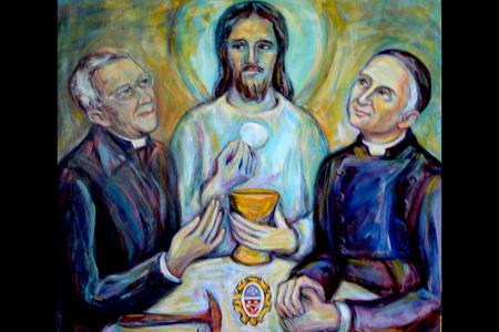 """Sister Mary Grace Thul, OP, """"Father Joseph Henchey and St. Gaspar Bertoni at Emmaus"""""""