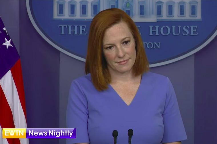 White House press secretary responds to EWTN News Nightly's Owen Jensen April 14, 2021.