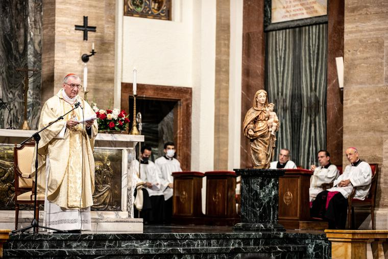 Cardinal Pietro Parolin, Secretary of State for the Holy See, ordained 29 priests of the Prelature of Opus Dei inside the Basilica of Sant'Eugenio in Rome, Sept. 5, 2020.