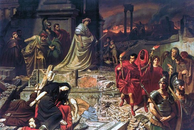 "Carl Theodor von Piloty, ""Nero Views the Burning of Rome,"" ca. 1861"