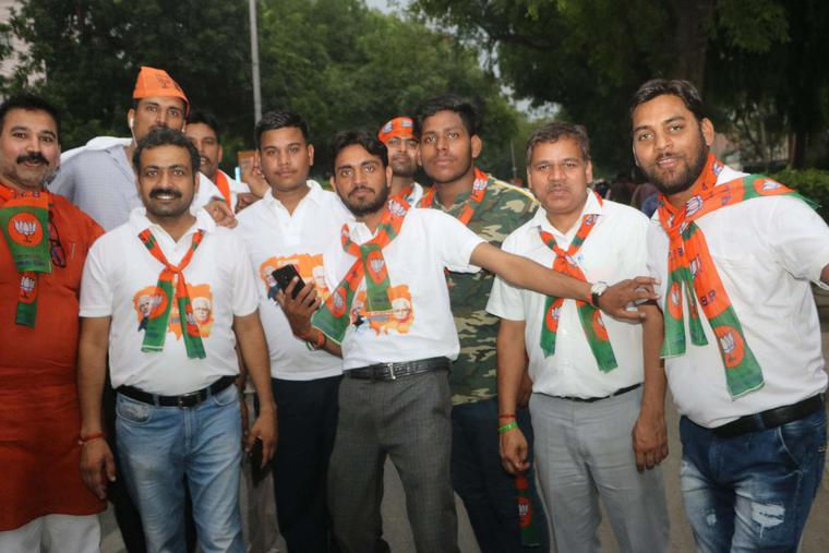 BJP supporters rejoice in front of party office in  New Delhi after May 2019 reelection victory