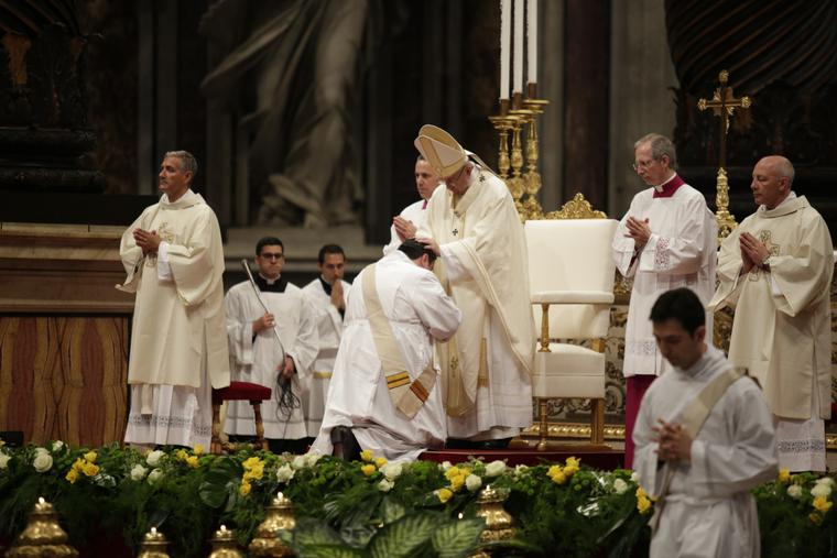 Pope Francis ordains ten men to the priesthood in St. Peter's Basilica on May 7, 2017.