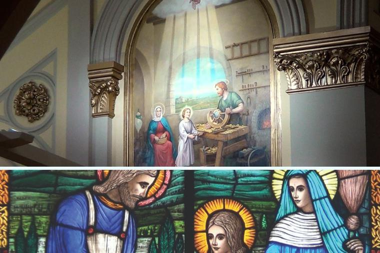 Stained-glass windows present the saint's life and attributes, as do murals.