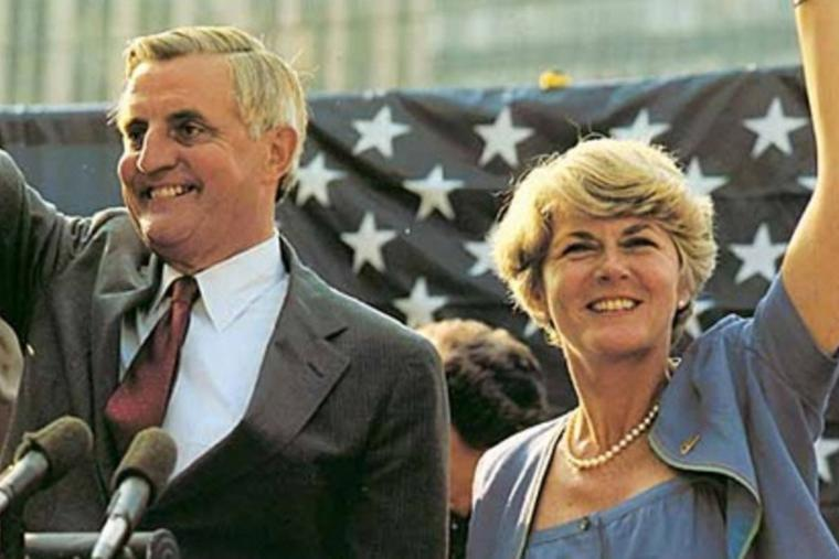 U.S. presidential candidate Walter Mondale and vice-presidential candidate Geraldine Ferraro campaign at a political rally in Fort Lauderdale, Florida, April 27, 1984.