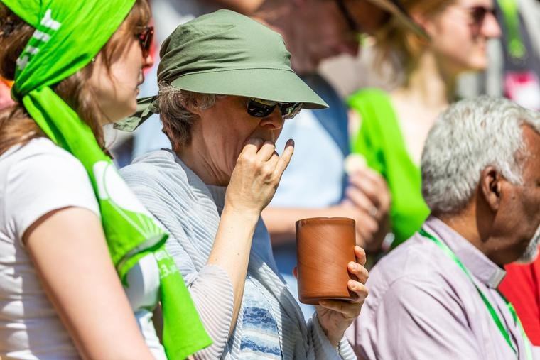 Attendees participate in a Lutheran service at the German Protestant Kirchentag on June 23, 2019, in Dortmund, Germany.