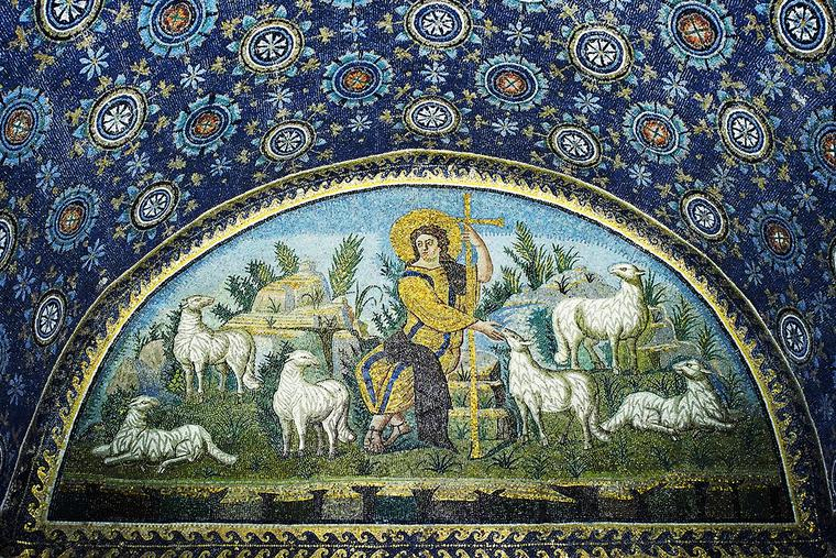 """The Good Shepherd"" mosaic, 5th century, Mausoleum of Galla Placidia, Ravenna, Italy."