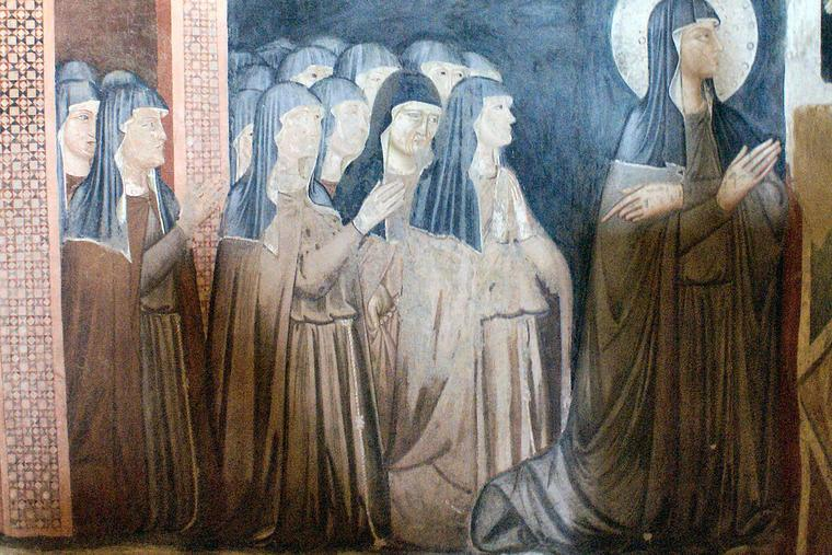 Fresco of Saint Clare and nuns of her Order, Chapel of San Damiano, Assisi.