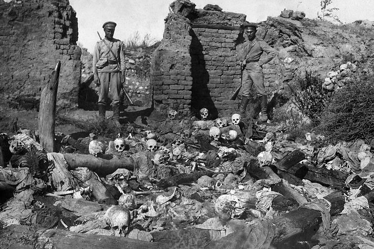 Russian soldiers pictured in the Armenian village of Sheykhalan during the Armenian Genocide.