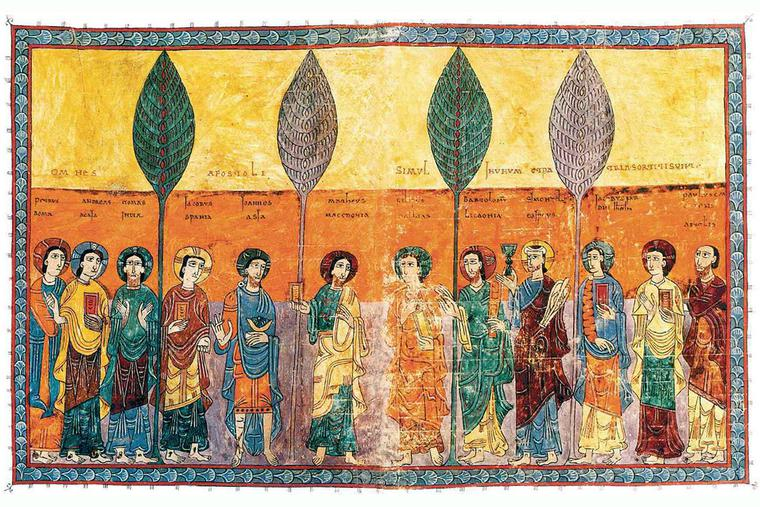 """The Twelve Apostles"" from the Gerona Beatus, ca. 975"