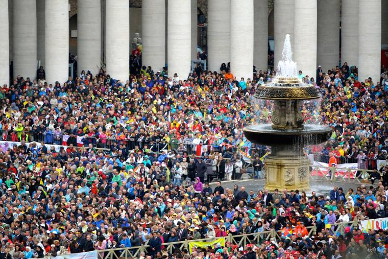 Pilgrims packed St. Peter's Sqaure during the canonization of Popes John Paul II and John XXIII, April 27, 2014.