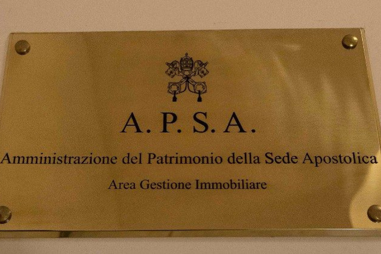 The banner at the entrance of the APSA office in the Vatican.