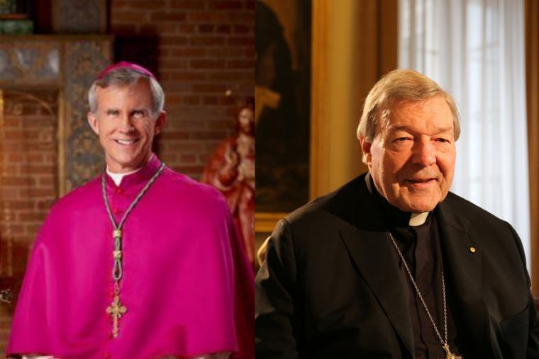 (L) Bishop Joseph Strickland alongside Cardinal George Pell.