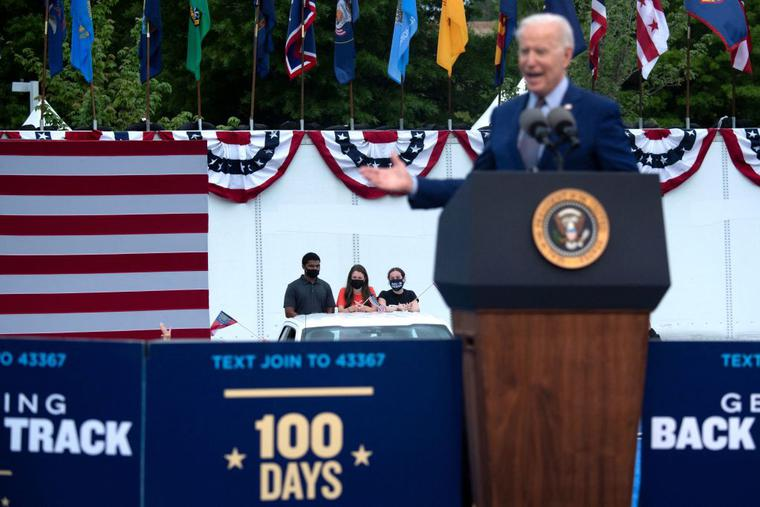 President Joe Biden speaks during a drive-in rally at Infinite Energy Center April 29, 2021, in Duluth, Georgia.