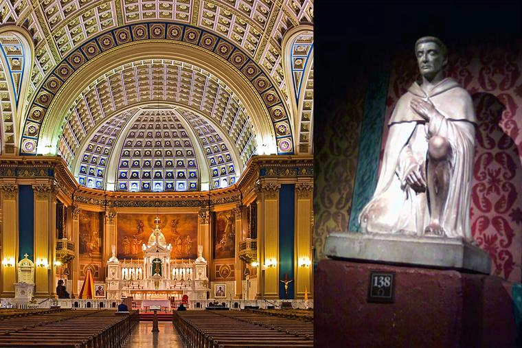 LEFT: The Basilica of Our Lady of Sorrows in Chicago is the location of the National Shrine of St. Peregrine. RIGHT: Statue in the Peregrine Chapel of the Serra Chapel in Mission San Juan Capistrano [Photo by Mark Steven Brown].