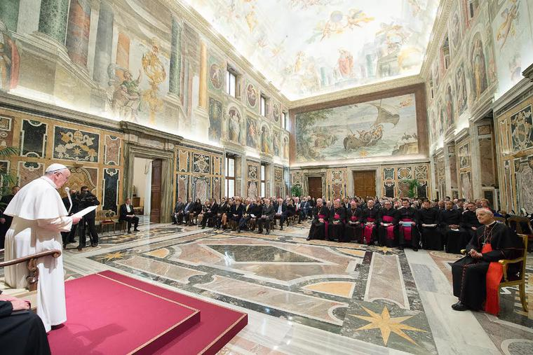 Pope Francis meets with members of the Papal Foundation in Vatican City on April 17, 2015. The Papal Foundation began in 1988 as an endowment to strengthen the Holy Father's ability to fulfill the mission of Saint Peter.
