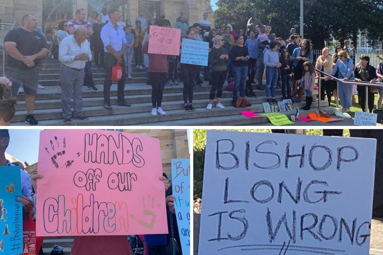 Protests against Bishop Vincent Long were held April 25 outside St. Patrick's Cathedral in the Diocese of Parramatta, Australia.