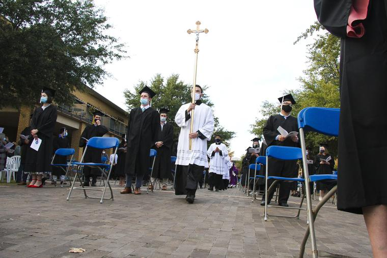 Above, the University of Dallas postponed its baccalaureate Mass and graduation ceremony for 2020 graduates due to COVID-19 until Dec. 5-6, 2020.