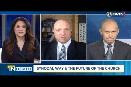 Montse Alvarado, AC Wimmer and Matthew Bunson discuss the German Synodal Path on the April 30 episode of 'EWTN News in Depth.'