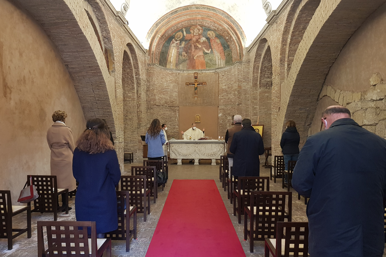 Holy Mass is celebrated in the small church dedicated to St. Gregory Nazianzen last week.