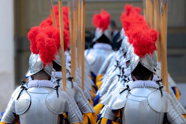 Swiss Guards at the ceremony in Vatican City's San Damaso Courtyard on May 6, 2021.