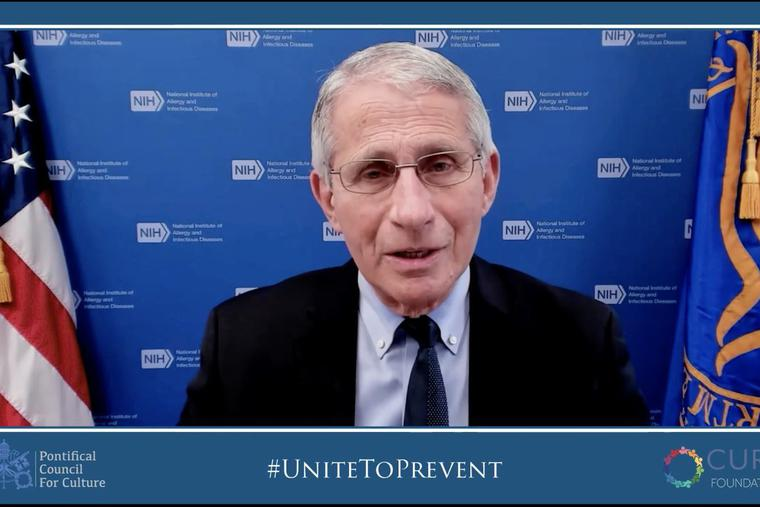 """Dr. Anthony Fauci speaks to the audience at the """"Unite to Prevent, Unite to Cure"""" conference May 6-8, 2021."""