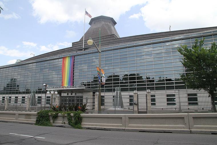 US embassy in Ottawa showcasing a rainbow flag.