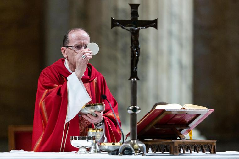 Archbishop Thomas Olmsted of Phoenix celebrated Mass with members of the United States Conference of Catholic Bishops' Region XIII who gathered at the Basilica of St. Paul Outside the Walls on Feb. 12, 2020, during their ad Limina Apostolorum visit.