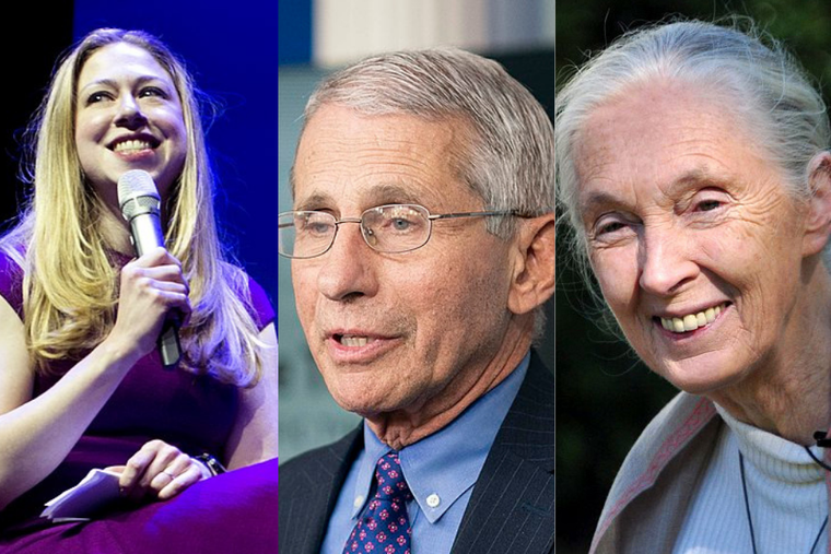 (L-R) Clinton Foundation Chair Chelsea Clinton, Dr. Anthony Fauci of the Biden administration and anthropologist Jane Goodall all took part in the Vatican's Health Conference May 6-8, 2021.