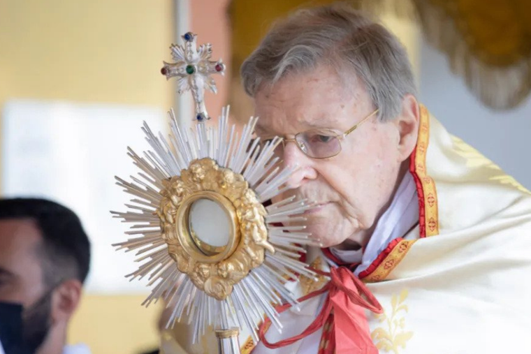 Cardinal George Pell at the annual Eucharistic procession at the Angelicum in Rome, May 13, 2021.