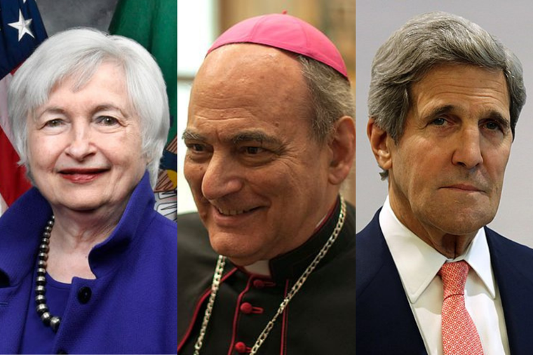 (L-R) Treasury secretary Janet Yellen, Bishop Marcelo Sánchez Sorondo, and climate envoy John Kerry.