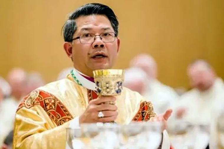 Bishop Vincent Long Van Nguyen offers Mass on June 16, 2016
