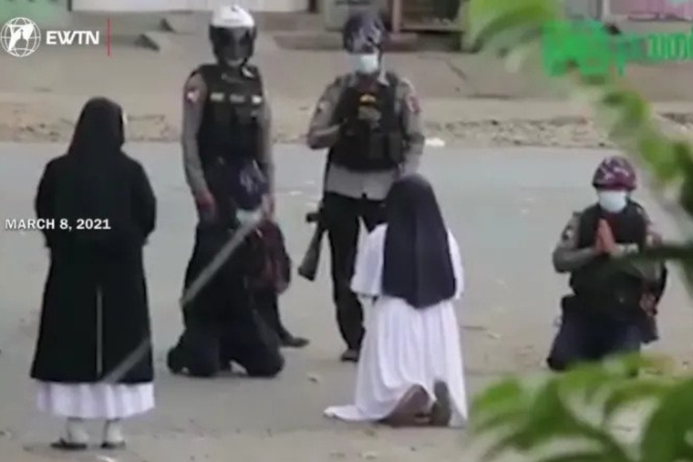 Sr. Ann Rose Nu Tawng begs police not to shoot protesters during Myanmar unrest.