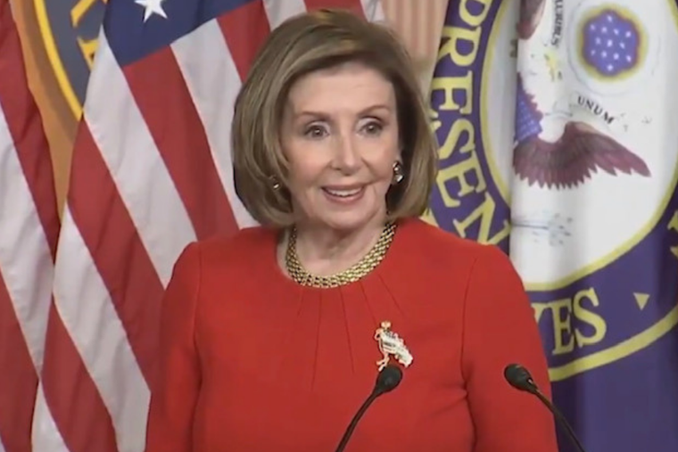 Speaker of the House Nancy Pelosi answers a question during a press conference on Capitol Hill from EWTN News Nightly reporter Erik Rosales.
