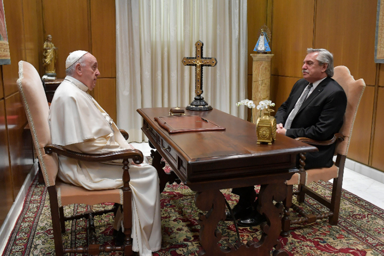 Argentine President Alberto Fernández meets with Pope Francis at the Vatican, May 13, 2021.