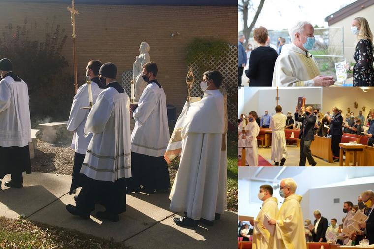 Eucharistic procession at St. Charles Catholic Church.